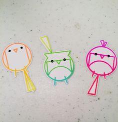 """These Neon Happy Birds make me happy! #heroartsneonombreink #wplus9stamps #comingsoontomyblog #handmadebyheatherruwe"""
