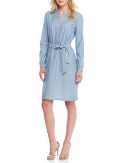 Anne Klein Women's Chambray Shirt Dress - Eton Blue Denim - Xs