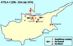 Cyprus map 1974 invasion. This Day in History: Aug 14, 1974:The second Turkish invasion of Cyprus begins