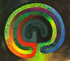 Labyrinth One by Thalia Took. Look how the light and dark are juxtaposed on the adjacent paths.