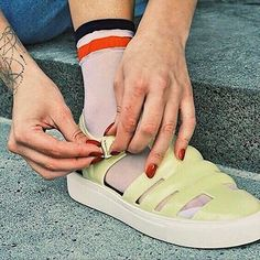 Socks and sandals – on trend. [Crystal : Lemon Jelly : Online & In Store] - Gelee Ideen Jelly Crystals, Socks And Sandals, Jelly Shoes, Spring Summer 2018, Eye Candy, Ready To Wear, Adidas Sneakers, Stylish, Lemon