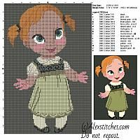 Baby Anna Frozen cross stitch pattern 100x150 16 colors