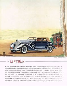 1935 BIG Vintage Lincoln Le Baron Lebaron Convertible Sedan Car Art Print Ad b