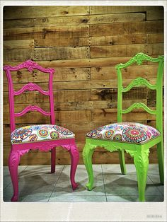 Funky Furniture, Refurbished Furniture, Recycled Furniture, Colorful Furniture, Paint Furniture, Upholstered Furniture, Furniture Makeover, Furniture Design, Chair Reupholstery