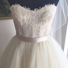 lace wedding gown strapless bodice -weddingday-online.com