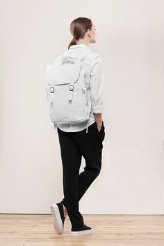 White large leather backpack rucksack / To order