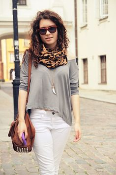brown grey cute outfit #fashion