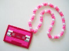 cassette tape kandi necklace by littlebleezy on Etsy, $8.00