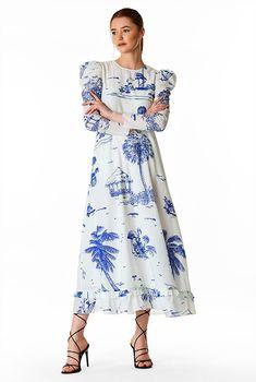 Puff sleeve landscape print cotton voile dress #eShakti