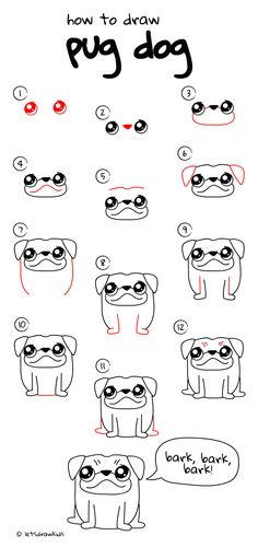 How to draw Pug dog. Easy drawing, step by step, perfect for kids! Let's draw kids. http://letsdrawkids.com/