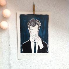 """Lámina DAVID LYNCH.Colección """"Retratos"""" tributo dedicado a David Lynch.Edición Limitada  firmada por Marina Guiu.Impresión digital sobre papel Conqueror de 300 gr.Medida A3 (29,7 x 42 cm).Para más información:espacio-store@hotmail.com"""