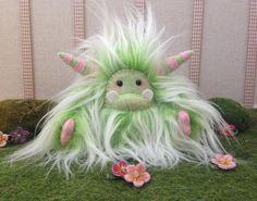 "Yeti artist bear, pastel green and white faux fur monster plush ""Herbie"" on Etsy, $33.24"