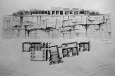 Plan & Side View Drawing. Can Lis. Mallorca. Jorn Utzøn. 2011. By architecture University of Navarra Student. E. Quintana