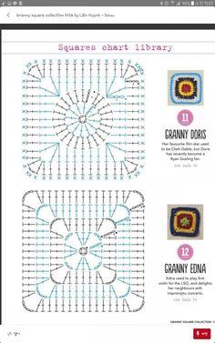 코바늘뜨기 네모난 모티브 도안 : 네이버 블로그 Granny Square Crochet Pattern, Crochet Diagram, Crochet Squares, Crochet Patterns, Granny Squares, Manta Crochet, Crochet Mandala, Grannies Crochet, Granny Pattern