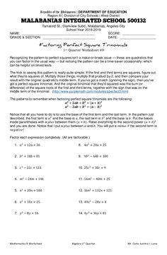 Factoring Trinomials Practice Worksheet New Factoring Perfect Square Trinomials Worksheet Types Of Sentences Worksheet, Probability Worksheets, Subject And Predicate Worksheets, Chemistry Worksheets, 2nd Grade Worksheets, Teacher Worksheets, States Of Matter Worksheet, Matter Worksheets, Anger Management Worksheets