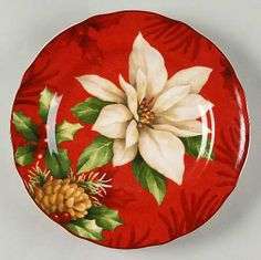 222 Fifth (PTS) Poinsettia Holly Salad Plate Merry Little Christmas, Red Christmas, Christmas Ornaments, Poinsettia, Ceramic Plates, Decorative Plates, Christmas Dishes, Round Tray, Holiday Pictures