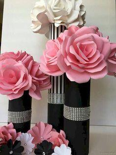 Ideas For Birthday Table Centerpieces Ideas Vase Chanel Birthday Party, Chanel Party, Paris Birthday, Birthday Table, 40th Birthday, Valentines Bricolage, Valentines Diy, Diy Valentine's Centerpieces, Paper Flower Centerpieces