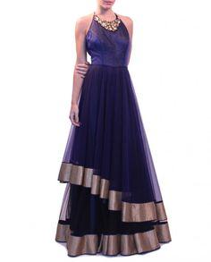 Navy blue color party wear lehenga online – Panache Haute Couture