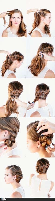 French Braid Bun Hair Tutorial Hair Hair braid and bun braided bangs. My Hairstyle, Pretty Hairstyles, Braided Hairstyles, Wedding Hairstyles, Hairstyle Tutorials, Hairstyle Ideas, Mermaid Hairstyles, Side Hairstyles, French Plait Hairstyles