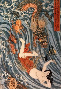 Tamatori being pursued bya Japanese Dragon. The ama diver Princess Tamatori steals the Dragon King's jewel, by Utagawa Kuniyoshi. Folklore Japonais, Art Japonais, Japan Illustration, Samurai, Japanese Woodcut, Grand Art, Art Chinois, Japanese Mythology, Art Asiatique