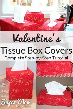 Reversible Valentine's Tissue Box Covers - Click thru for the complete Step-by-Step Tutorial from Super Mom - No Cape! via @susanflemming
