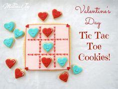 Valentine Tic Tac Toe Cookies by Melissa Joy Valentines Baking, Valentine Desserts, Valentines Day Desserts, Valentine Cookies, Birthday Cookies, Holiday Cookies, Easter Cookies, Summer Cookies, Fancy Cookies