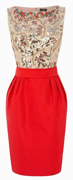Gorgeous pearl detail moccasin and red combo dress | FASHION WINDOW