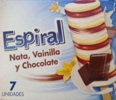 Espiral Nata, Vainilla y Chocolate Hacendado (Mercadona) - 1 unidad 2 puntos. Food And Drink, Chocolate, Custard, Vanilla, Sweet And Saltines, Healthy Dieting, Diets, Foods, Spirals