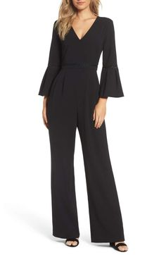 Eliza J Bell Sleeve Jumpsuit in black (petite, regular)   Give your LBD the evening off with this bell-sleeve one-piece that's simply chic and extra versatile. Nordstrom.