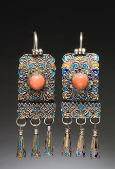 Mongolia ~ Chahar Province | Earrings; silver, coral, turquoise and enamel. Married women wear these earrings as part of their headdress | 20th century | ©World Jewellery Museum, South Korea