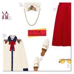 """NYFW"" by jadeisback ❤ liked on Polyvore featuring Gucci, Balenciaga, Christian Dior, Oscar de la Renta and NYFW"