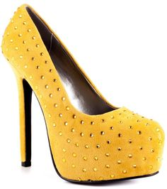 Luichiny Mustard with Gold Stud High Heel
