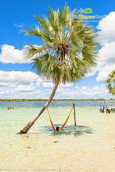 Imagem de uma rede pendura dentro da Lagoa do Paraíso, o nome da diz tudo realmente o paraíso.