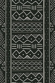 Mudcloth fabric, wallpaper, and gift wrap by domesticate.  Based on traditional African mudcloth, in off-white on black.  Click to see more mudcloth color and size options.