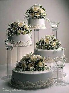 Indescribable Your Wedding Cakes Ideas. Exhilarating Your Wedding Cakes Ideas. 4 Tier Wedding Cake, Wedding Cake Stands, Wedding Cakes With Cupcakes, Elegant Wedding Cakes, Beautiful Wedding Cakes, Gorgeous Cakes, Wedding Cake Designs, Pretty Cakes, Cupcake Cakes