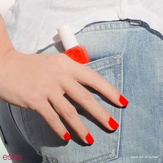 Keep it simple and relaxed when it comes to your summer style. Pairing up your favorite light washed denim shorts with a bright 'meet me at sunset' nail polish will give you that extra pop of color.