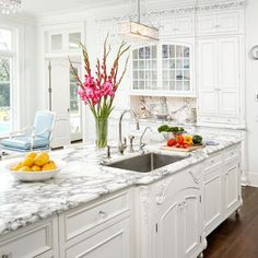 White Marble Kitchens Design, Pictures, Remodel, Decor and Ideas