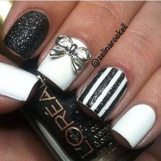 Cute manicure using a texture polish and a creme polish