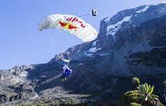 Rozov comes into land© Denis Klero/Red Bull Content Pool Kilimanjaro, Volcano, Mount Everest, Adventure, Mountains, Red Bull, Travel, Base, Content
