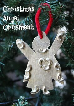 Christmas Angel Ornament. A homemade what to spead holiday cheer with noodles and gold paint.  Tutorial on the site.