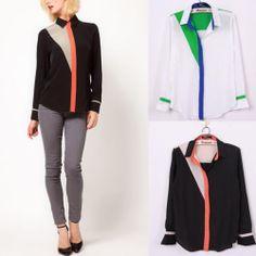 New Stand Collar Long-sleeve Button Chiffon Sheer Casual Blouse Top Shirt
