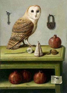Owl painting made by Ilya Zomb Owl Illustration, Illustrations, Balance Art, Wise Owl, Owl Art, Visionary Art, State Art, Fine Art Paper, Pet Birds