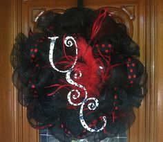 College Mesh Wreath - USC University of South Carolina Gamecocks. $49.00, via Etsy.