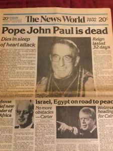Death Of Pope John Paul I - Catholic Church - Vatican - 1978 New York Newspaper Paul Is Dead, Le Vatican, Catholic Memes, Pope John, John Paul, Reign, Newspaper, Christianity, Egypt