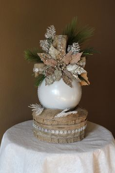 Neutral Christmas Floral Arrangement with 8 by BlackPineDesign. Christmas Chic!