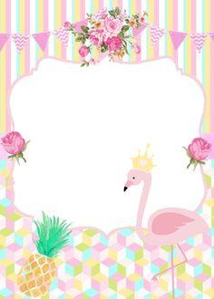 Convite flamingo para editar - Decorando Minha Festa Flamingo Party, Flamingo Birthday, Girl Birthday, Flamingo Png, Flamingo Vector, Flamingo Wallpaper, Tea Party Baby Shower, Tropical Party, Luau Party