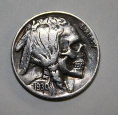 Hand carved skull hobo nickel by Adam Leech.