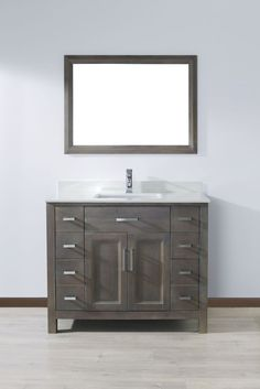 Kelly 42 In. French Gray Vanity Ensemble with Mirror and Faucet