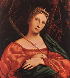 St Catherine of Alexandria by Lorenzo Lotto, Oil on wood