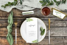 Olive Branch On The Day — Hawthorne and Ivory Wedding Invitation Design, Wedding Stationery, Olive Branch Wedding, Menu Cards, Menu Design, Table Plans, Place Settings, Table Numbers, Place Cards